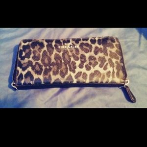 Brand New Leather Leopard Print Coach Wallet